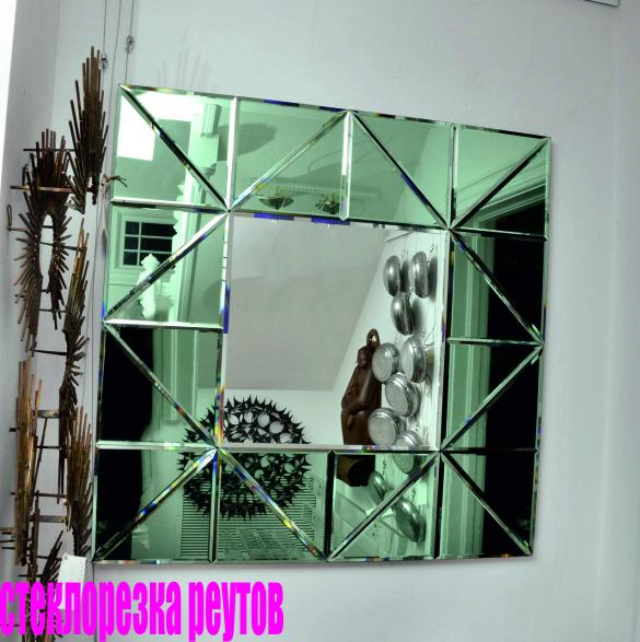 Панно из зеркальной плитки с фацетом в интерьере фото